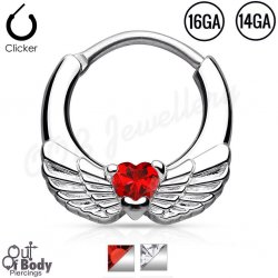 Septum Clicker Round Hinged Angel Wing W/ CZ Heart In Mix Size
