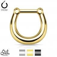 Septum Clicker Hinged Plain Style Or Gold/ Black IP Nose Ring