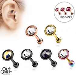 Cartilage/ Tragus Flat Top Disc CZ Gem Barbell W/ IP Colours