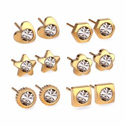 Value Pack 6 Pairs Gold Plated CZ Post Earrings Stainless Steel