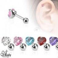Cartilage/ Tragus Claw Set Heart CZ Gem Top 316L Steel Barbell