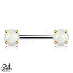 316L Steel Front Face Opal Glitter Prong Set Gold Nipple Barbell