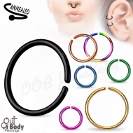 Cartilage Ear/ Septum Hoop Ring W/ Rounded Ends Titanium Colours