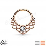 Septum Cartilage/Ear Hoop Ring W/ CZ Set Lotus Filigree