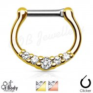 Septum Clicker Petite Gem Bell Curved Nose Ring W/ IP Gold