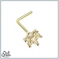 Spring Golden Flower Sparkle W/ Prong CZ L-Bend Nose Ring