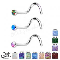 20G Opal Top Nose Screw 316l Surgical Steel