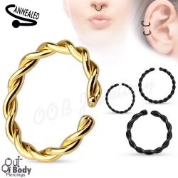 Cartilage Ear/ Septum Braided Ring Bendable In Black & Gold