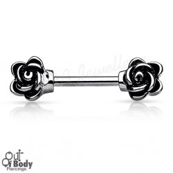 316L Steel Casted Flowers Nipple Barbell