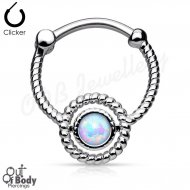 Septum Clicker Round Hinged Twisted Rope Circle W/ Single Opal