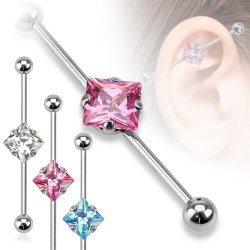 Industrial Barbell W/ Centered Square CZ In 316L Steel