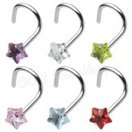 18G/ 20G Prong Set Star CZ 316L Surgical Steel Nose Screw