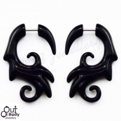 Fake Tribal Curled Wing Taper In Black Acrylic