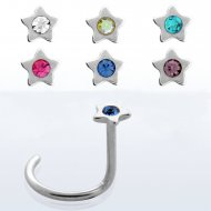 20G/ 0.8mm Crystal Centered Star Top Nose Screw