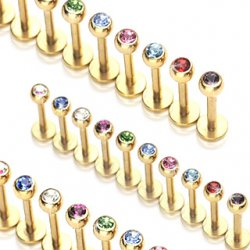 316L Steel W/ Ion Plated Gold Labret/ Monroe Colourful Gem Ball