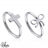 Hoop Nose Ring W/ Ribbon Or Cross Top 316L Surgical Steel