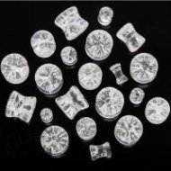 "Organic Clear Quartz ""Shattered Look"" Saddle Fit Plugs"