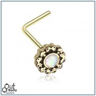Sparkling White Opal W/ Golden Filigree L-Bend Nose Ring