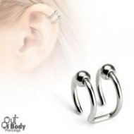 Cartilage/ Helix Ear CBR Ring Double Non Piercing W/ Beads