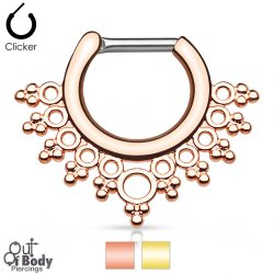Septum Clicker Daith Hinged Lacey Circles W/ Gold IP Nose Ring