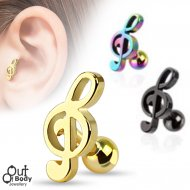 Cartilage/ Tragus Barbell W/ Music Treble Clef Top Titanium IP