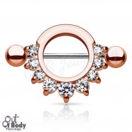 316L Steel Half Circle W/ Prong Gems Nipple Shield IP Rose Gold