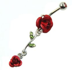 Dangling Double Rose W/ Crystal Vine Belly Ring
