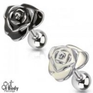 Cartilage/ Tragus 316L Steel Barbell W/ Enamel Rose Top
