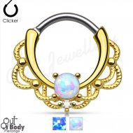 Septum Clicker Round Hinged Looped Lace Single Opal W/ Gold IP