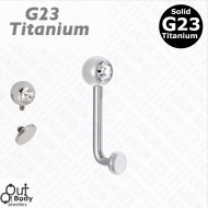 G23 Titanium Vertical Christina VCH Threaded Barbell W/ Gem Ball