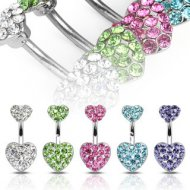 Crystal Pave Double Heart Belly Ring