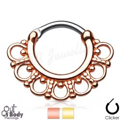 Septum Clicker Round Hinged Tribal Fan In Gold IP Nose Ring