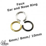 Fake Cheater Ear/ Nose Flexible Rings W/ Rounded Ends