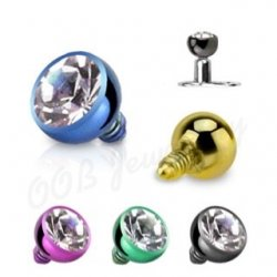 Press Fit Round Gem Dermal Top Titanium IP Over 316L S. Steel