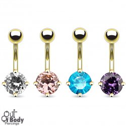 7mm Prong Set Round CZ 14KT Gold Plated Navel Ring