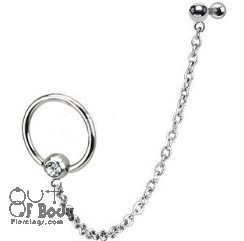Cartilage/ Tragus Gem CBR W/ Chain Linked Barbell In 316L Steel