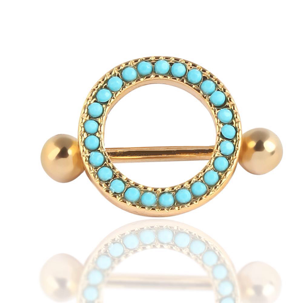 Golden Round Nipple Shield Ring W/ Turquoise Beading