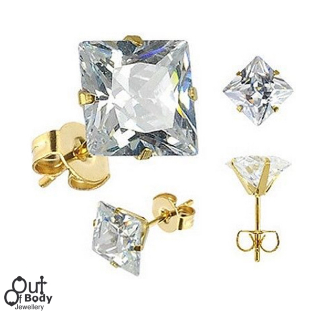 Square Clear CZ Stud Earrings 18KT Gold Vacuum Plated 316L Steel