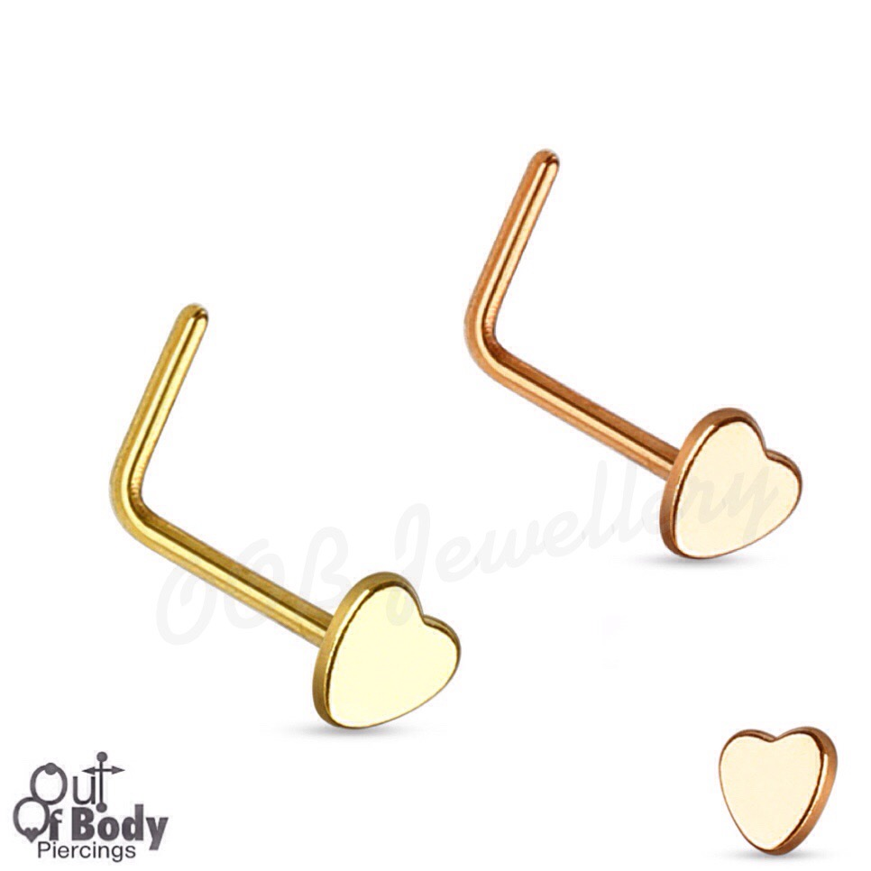 20G Heart Top 316L Surgical Steel L Bend Nose Ring W/ Gold IP
