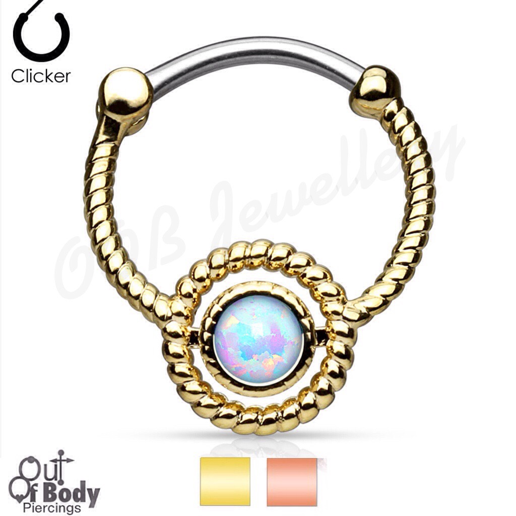 Septum Clicker Twisted Rope Circle W/ Single Opal In Gold IP