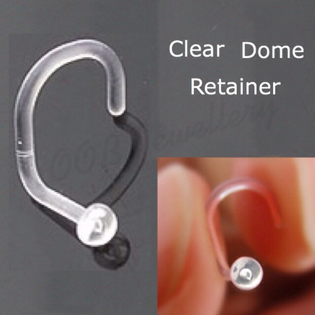 18GA Nose Screw Clear Retainer W/ Dome Top