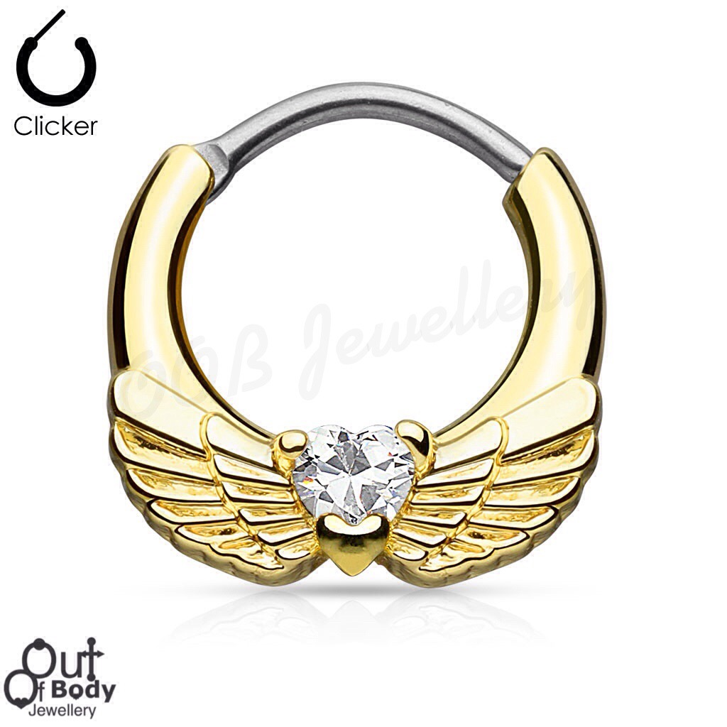 Septum Clicker Round Hinged Angel Wing W/ CZ Heart In Gold IP