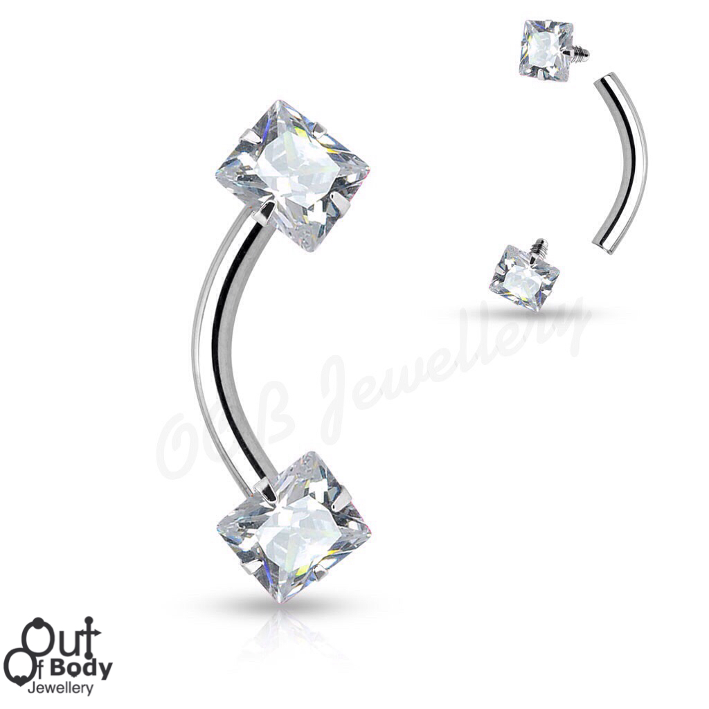 316L Steel Eyebrow Barbell W/ Threaded Square CZ Gem Top