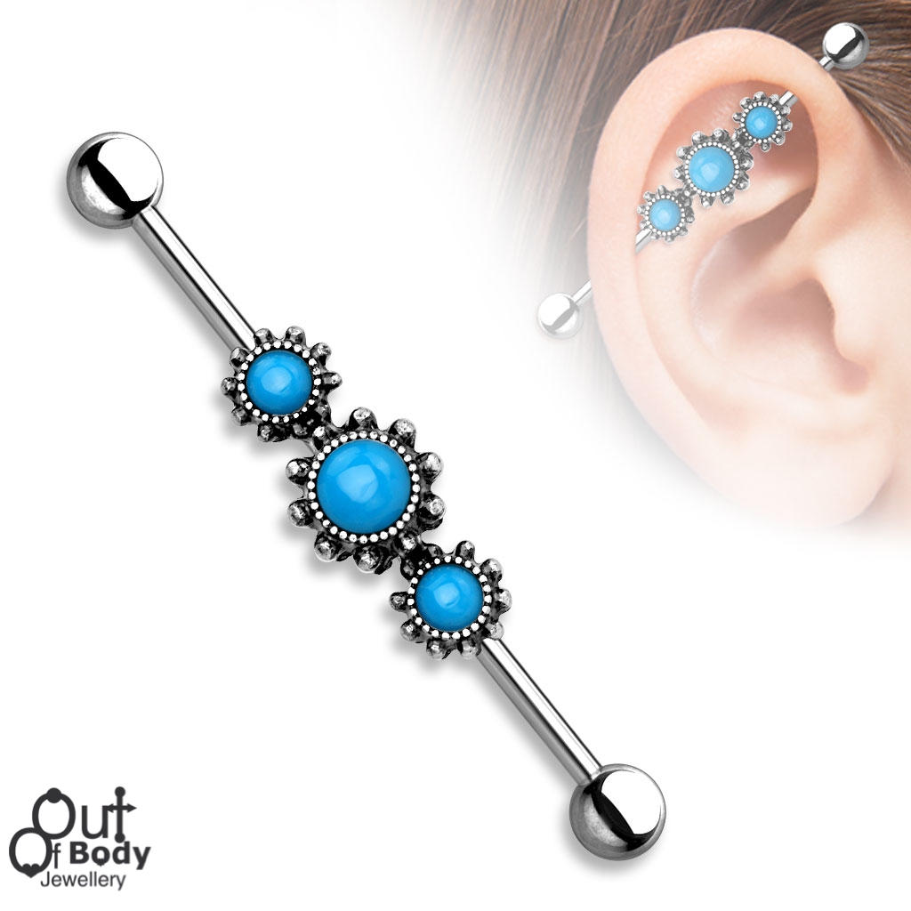 Burnish Silver Triple Round Turquoise 316L Industrial barbell