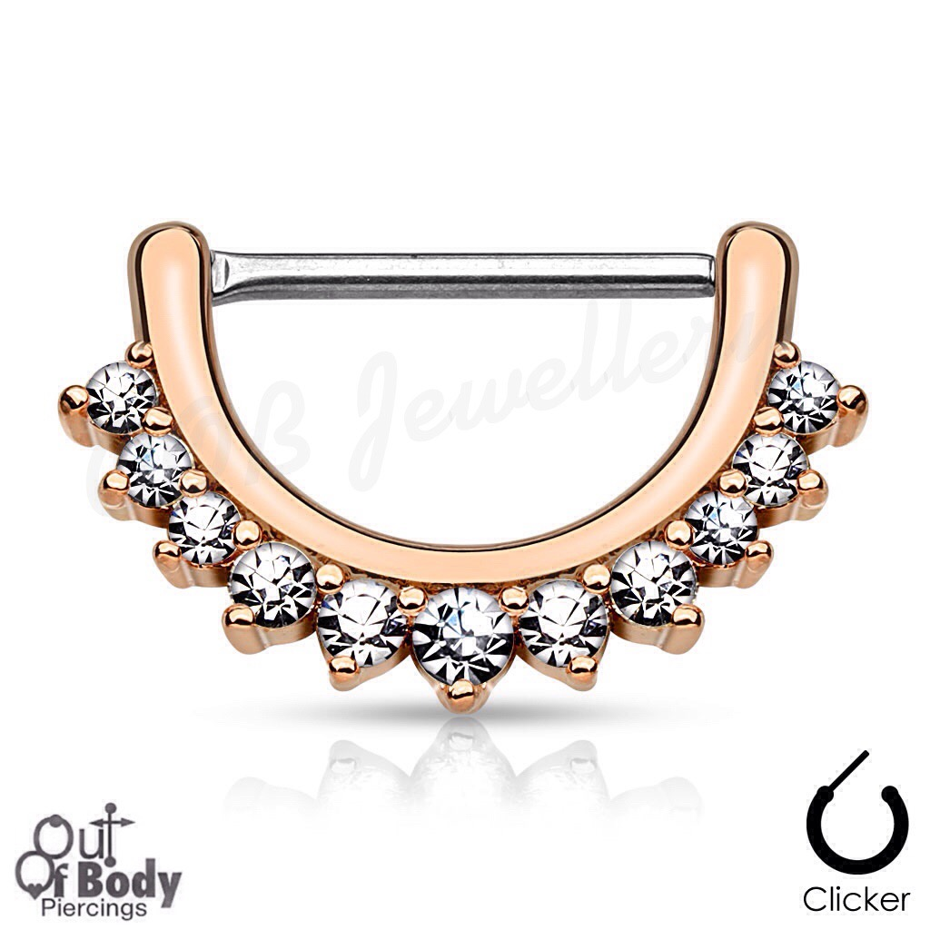 316L Steel Nipple Clicker Lined W/ Pronged Clear CZ IP Rose Gold