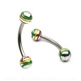 Jamaican/ Raster Stripe Curved Eyebrow Barbell W/ Balls