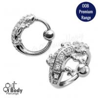 316L Steel Gecko Shaped Captive Bead Ring With Crystals