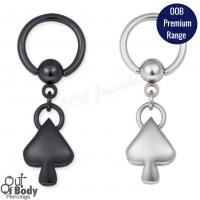 Black PVD Coated Or 316l Steel Captive With Dangling Spade
