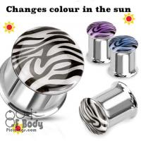 316L Solar Activated Tiger Print Dome Double Flare Tunnel