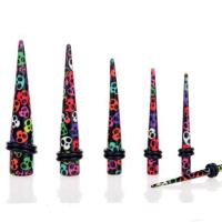 Acrylic Taper With Colourful Skulls
